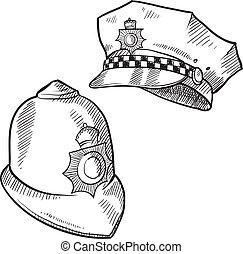 sombreros, policía, bosquejo