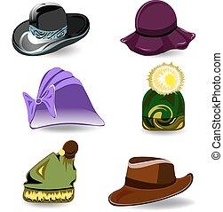 sombreros, vector, conjunto