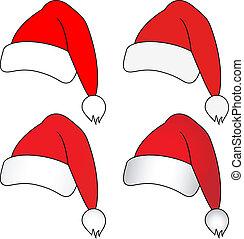 sombreros, vector, navidad