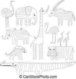 Some african animals in dreamtime. Picture for coloring or...