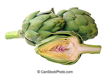cutting half and whole artichoke isolated on white background