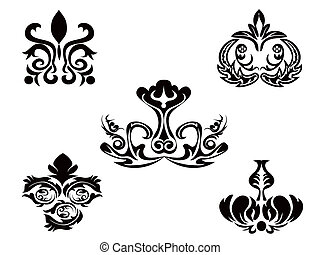 black abstract floral pattern