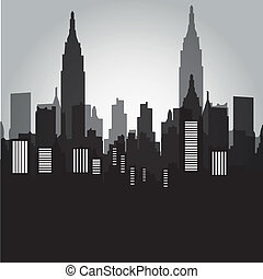 new york - some black and grey silhouetets of the buildings...