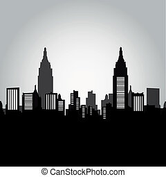 new york - some black and grey silhouettes of the buildings...