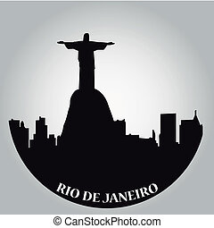 some black silhouettes of the buildings from rio de janeiro