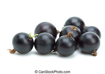 Some blackcurrants isolated on the white background