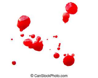 Some blood drops splash over white background