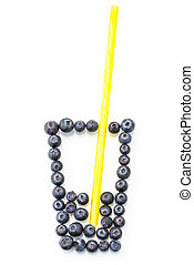 Some blueberry in cup-shape, Imagine, Creative, natural, Concept