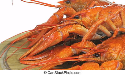 Some boiled crawfish. On a white background, red...