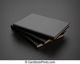 some books with black blank cover. 3d render