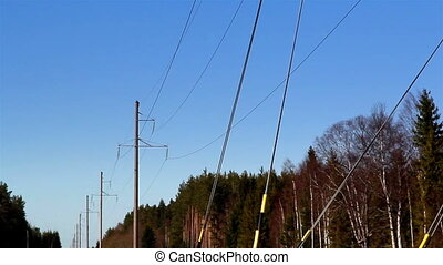 Some cable wires hanging on the post