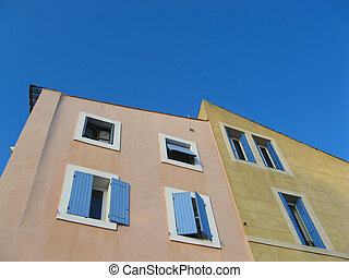 colored provence building frontages