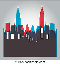 new york - some colored silhouettes of the buildings from...