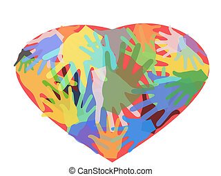 hands in heart - some colorful hands in heart