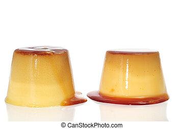 creme caramel - some creme caramel on a white background