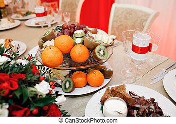 some decoration with fruit during a wedding banquet