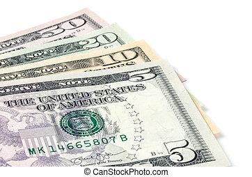 Some dollar bills on a white background