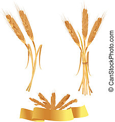 Some ears of wheat and ribbon.