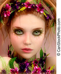 Some Flowers for You - 3d computer graphics of a Girl with...