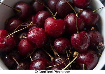 some fresh ripe red cherries