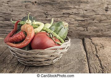 Some fresh vegetables in a basket