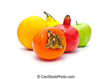 some fruit on a white background