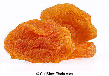 some fruits of dried apricot isolated on white background