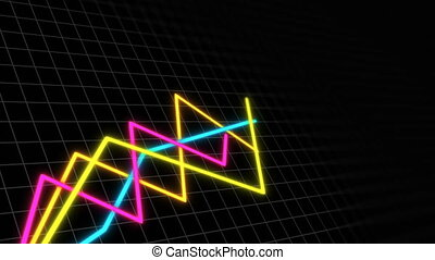 Some graphs in space with grid for demonstrating business...