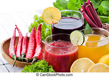 some healthy fresh juice with ingredients