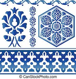 Some Islamic design elements - Vector of blue Islamic design...