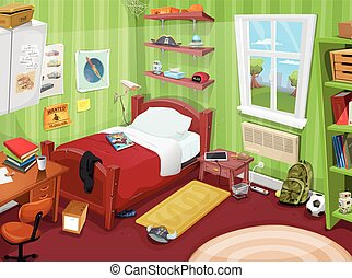 Illustration of a cartoon kid or teenager bedroom with boy or girl lifestyle elements, toys, bed, books, desk, bookshelf, and accessories in mess