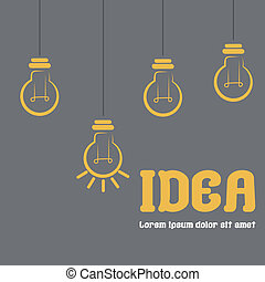 some lightbulbs and text in a grey background