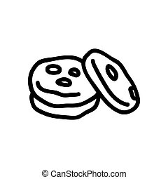 some oatmeal cookies icon vector outline illustration