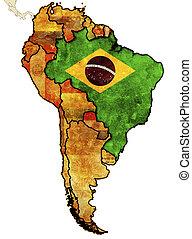 brazil - some old grunge political map of brazil