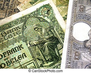 Old Belgian banknotes of the 1920s
