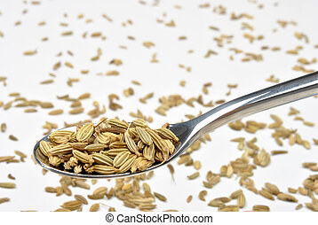 some organic caraway seed on a spoon