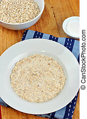 some organic cooked porridge on a plate