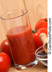 some organic tomato juice in a glass
