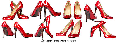 shoes - Some pairs of red modelling shoes on a white ...