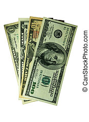 Some paper money on a white background ($ 1, $ 5, $ 10, $...