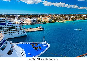Some passenger ships anchored in the port of Nassau, Bahamas