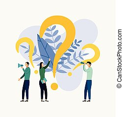 Some people are looking for questions, business concept vector illustration