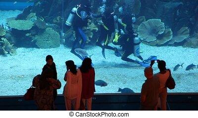 Some people near aquarium with divers inside Dubai Mall in Dubai, UAE.