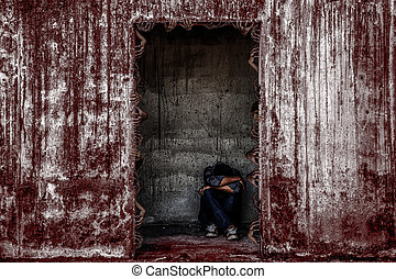 some people sitting in scary abandoned building with blood wall and many ghost hand coming out of a door