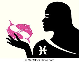 some pisces lady - the illustration with the sign of zodiac...