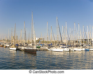 Some recreation boats at Barcelona port