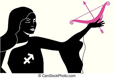 some sagittarius lady - the illustration with the sign of...