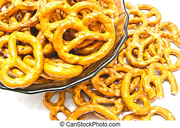 salted pretzels on a plate