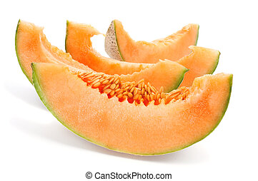 Persian melon - some slices of Persian melon on a white...