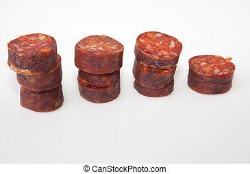 Some slices of red iberian chorizo